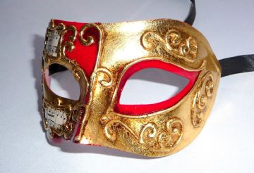 Genuine Venetian Red with Gold Leaf Mask (1) (1)